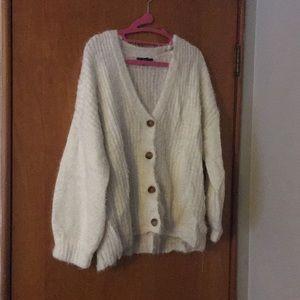 Forever 21 Fuzzy Ivory/White Oversized Cardigan